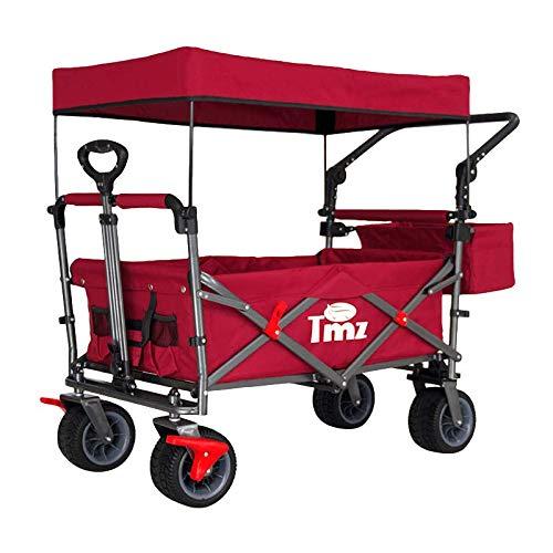 TMZ アウトドア用キャリーカート 折りたたみ式 アウトドアワゴン 屋根付き 100L 大容量 耐荷重120kg 組み立て不要 ワイルド マルチキャリー キャンプバギー (レッド)
