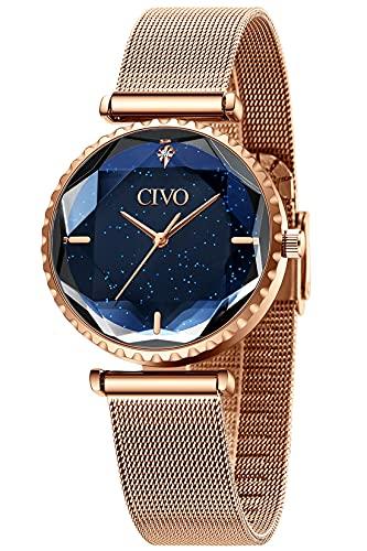 CIVO Damen Uhr Wasserdicht Sternenhimmel Edelstahlgewebe Armbanduhr Damenuhren Elegant Einfach Uhren Klassisch Damen Uhren Business Kleid Lässig...
