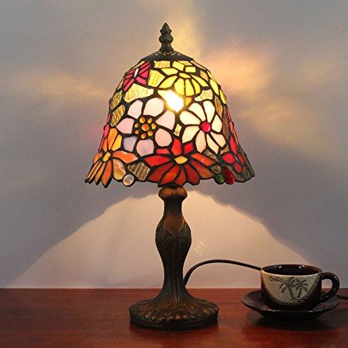 HDO 8 Zoll kleine Blumen-Hirten-antike Tiffany-Art-handgemachte Glas-Tabellen-Lampe Nachttisch-Raum-Kinderlicht