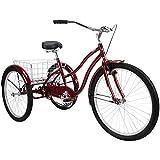 Huffy Pavilion Adult Trike, Foldable Basket, Aluminum Frame, 3 Wheel Cruiser Bike