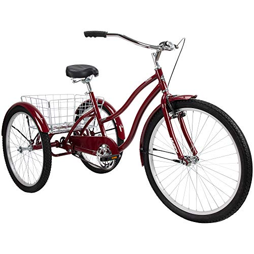 Huffy Pavilion Adult Trike, Foldable Basket, Aluminum Frame, 3 Wheel Cruiser Bike, One Size