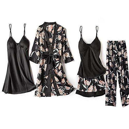 HAIBI Mujer Albornoz Bata 5 Piezas Albornoz Sexy Traje De Noche para Mujer Kimono Satén Estampado De Flores Ropa De Dormir Negra Homewear, XXL