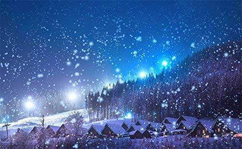 Leowefowa 5X3FT Christmas Backdrop Rustic Village Night View Forest Trees Snowing Shining Lights Blue Sky Winter Xmas Vinyl Photography Background Kids Children Newborn Photo Studio Props
