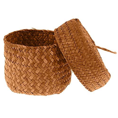 Odoukey-Tool Accesorios Tool Hecho a Mano de Paja de Almacenamiento de Tejido de Cesta de Mimbre Rattan Planter Basket Maceta contenedor de Almacenamiento para la Boda del jardín Decoración Amarillo