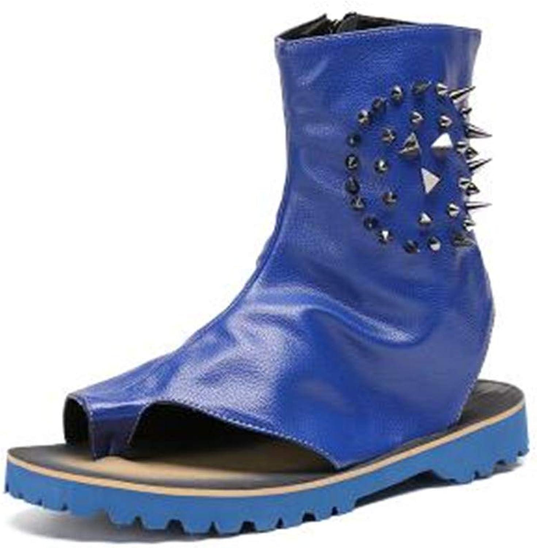 Fashion bluee Men Summer Sandal Boots Leather Gladiator Rivets Studded Sandalias men Mens Beach shoes Chaussure Homme