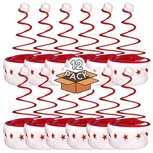 LED Light Up Red and White Festive Christmas Spring Santa Hat for Kids and Adults - 12 Pack