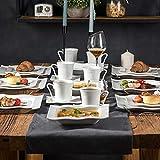 MALACASA, Serie Mario, 60 TLG. Cremeweiß Porzellan Geschirrset Kombiservice Tafelservice mit je 12 Kaffeetassen, 12 Untertassen, 12 Dessertteller, 12 Suppenteller und 12 Speiseteller - 5