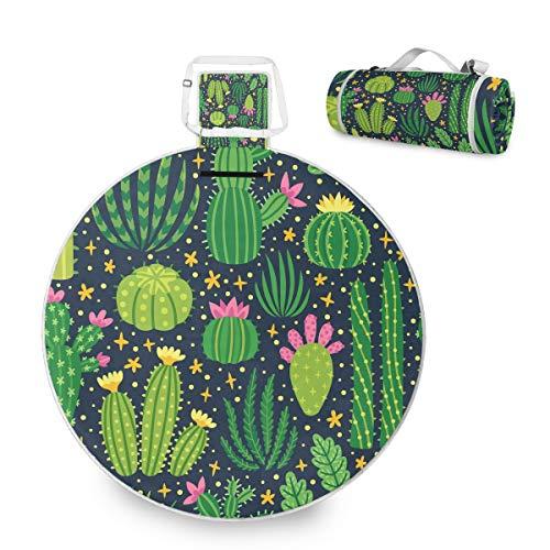 Plants Cactus - Manta de picnic grande para exteriores, impermeable, práctica esterilla de picnic para la familia, camping, playa, parque redondo, 59 pulgadas