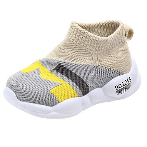 Lazzboy Kleinkind Kinder Baby Mädchen Jungen Mesh Weiche Sohle Sportschuhe Turnschuhe Cartoon Neugeborenes Babyschuhe Anti-Slip Socken Slipper Stiefel(Grau,25)