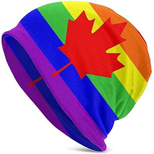 Giles John Unisex Beanie Caps Homosexuell Stolz Flagge Kanada Ahorn Verlassen Slouchy Manschette Schädel Strickmütze Mütze Sommer Warme Ski Hüte Snapback Schwarz