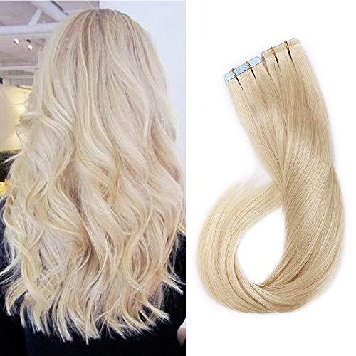 Tape in Extensions Echthaar Günstig Haarteil in Klebe 20 Stücke 30 Gramm 45cm 60# Platinblond Glatt Hochwertig Human Hair
