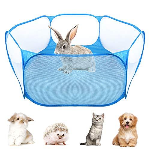 FGen Tienda de jaulas de Animales pequeños, Cerca portátil para Mascotas,Transparente y...