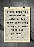 Eleanor Roosevelt - Learn From Mistakes - Quote Vintage Art - Authentic Upcycled Dictionary Art Print - Home or Office Decor - Inspirational And Motivational Quote Art