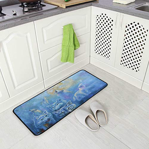 ALINLO tapete de Piso para Cocina, Pintura al óleo, diseño de Luna, Antideslizante, cómodo, tapete Acolchado para decoración del hogar, Interior y Exterior, 99 x 51 cm