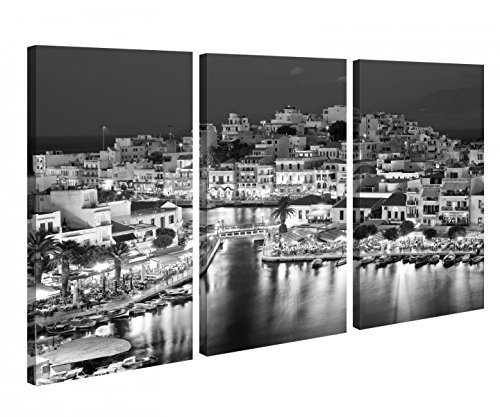 Preisvergleich Produktbild Leinwandbild 3 Tlg Kreta Griechenland blau Paradies Schwarz weiß Leinwand Bild Bilder Holz gerahmt 9U418,  3 tlg BxH:120x80cm (3Stk 40x 80cm)