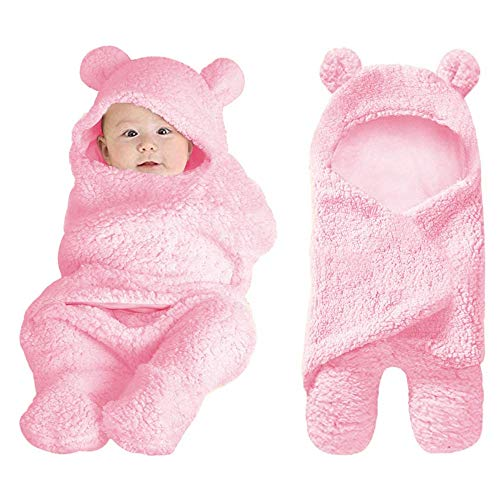 XMWEALTHY Cute Baby Items Newborn Plush Nursery Swaddle Blankets Soft Infant Girls Clothes Pink