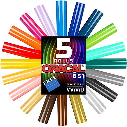 Oracal 651 Choose Your Own Colors roll Pack 12 Inch x 60 Inch per roll w/Squeegee (5 Rolls)