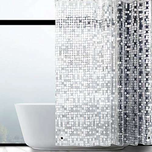 WELTRXE Duschvorhang Anti-Schimmel mit Gewicht Magnet unten, Transparent Geometrisch Eva Wasserdicht Antibakteriell Vorhang für Dusche & Badewanne, 0.15mm [183*200cm]mit 12 Duschvorhangringen Kinder