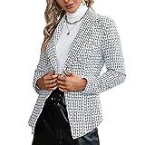Pabuyafa Chaquetas blazer de manga larga con botones de solapa para mujer, estilo casual, elegante, para oficina, para trabajo, blanco, 36