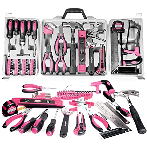 71 Piece Pink Tools, Household Tool Kit, Household Hand Tool Kit with Plastic Toolbox,Ladies Tool Set,for DIY Projects, Home Maintenance (pink)