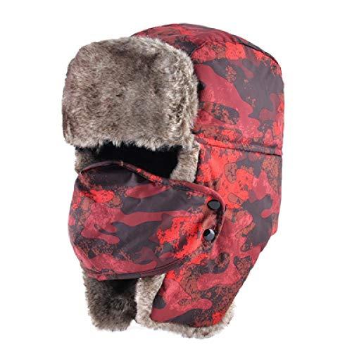 Sombrero de Bombardero de Camuflaje cálido de Invierno para Hombres y Mujeres, Gorro Ruso con Orejeras, Gorro Unisex de Invierno Grueso para piloto, D