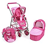 Bayer Chic 2000 637 31 - Kombi-Puppenwagen 3 in 1 Emotion All in, Dots Pink