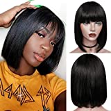 Short Bob Wigs With Bangs 10inch Brazilian Straight Remy Human Hair Bob Wigs with Bangs None Lace Front 150 Density Glueless Machine Made Wig for Black Women Natural Color