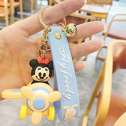 Neaer Llavero de Disney con diseño de Minnie Mickey con dibujos animados de Minnie Mickey Take a Plane, llavero para parejas, pequeño regalo al por mayor (color: 1)