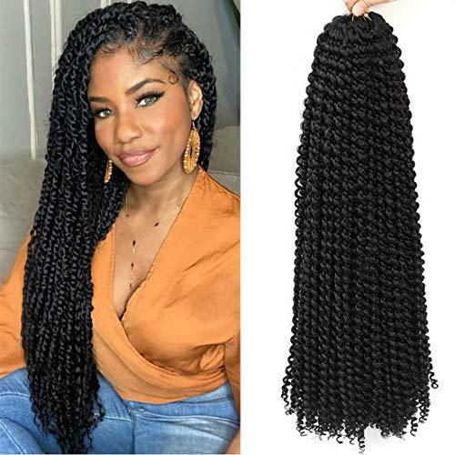 Passion Twists, 24 pouces 7 packs Vague Eau Crochet Tresses, Passion Twist Crochet Cheveux, Passion Twist Tressage Cheveux Extensions De Cheveux (24inch, 1B)