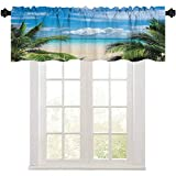 Aishare Store Rod Pocket Window Valance Curtains, Beach Relaxation Waterscape Island Honeymoon Traveling Seaside Shoreline Image, 1 Panel 54' W x 18' L Valance Curtain for Kitchen Window
