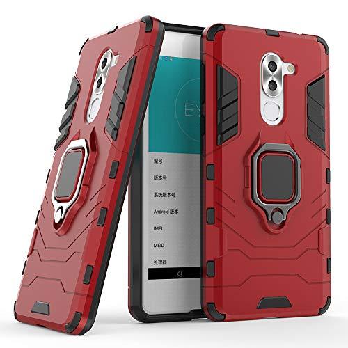 DESCHE für Huawei Honor 6X hülle, Ringhalterung hülle + Bildschirmschutz, kompatibel mit magnetischer Autohalterung (Außer Auto-Magnetrahmen) - Rote