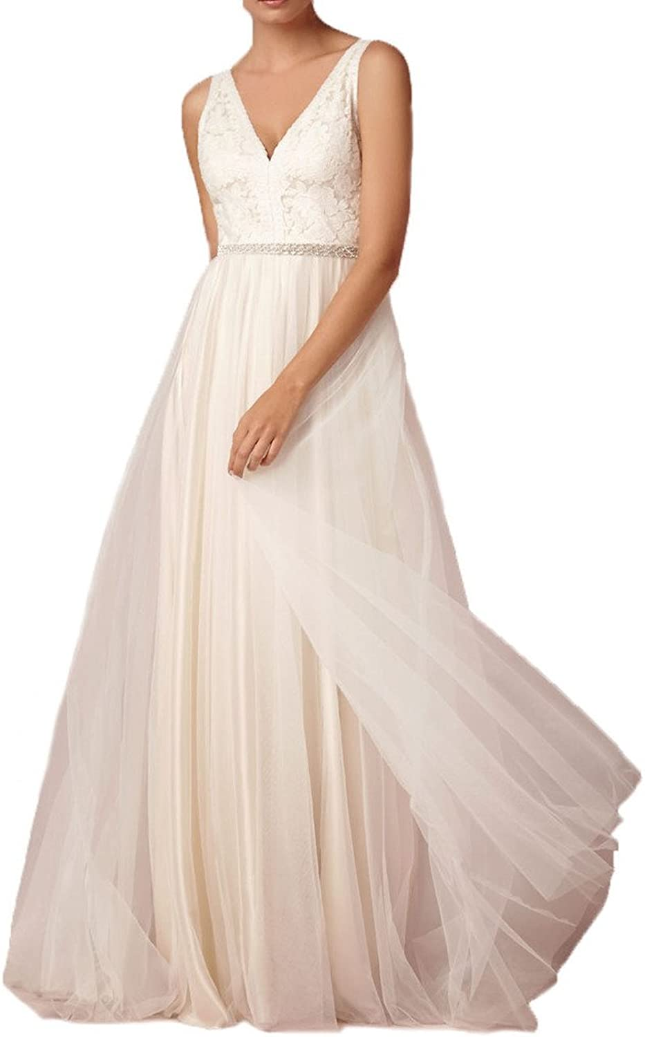 Cdress Lace Applique VNeck Sheer Beach Tulle Bridal Dresses Wedding Gowns