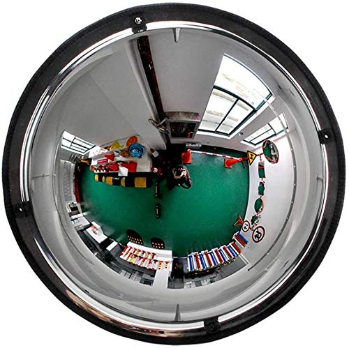 HQY verkeer buiten groothoeklens, hoekspiegel acryl Pmma-spiegel kogelspiegel groothoek supermarkt anti-diefstal spiegel rubberen rand breed gezichtsveld veiligheidsspiegel 30 cm