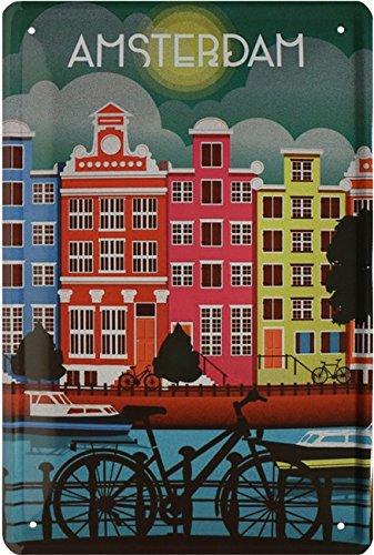 Plaque en tôle Blechschild 20 x 30 cm 1788 - Motif : Amsterdam, canal et vélo - Style rétro