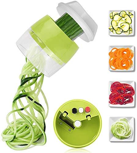 yui graters for kitchen stainless steel Handheld Spiralizer Vegetable Fruit Slicer 4 in 1 Adjustable Spiral Grater Cutter Salad Tools Zucchini Noodle Spaghetti Maker hand grater (Color : Green)