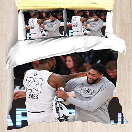 Juego de Funda nórdica Anthony Los Ángeles Jugador de Baloncesto 3 Ropa de Cama The Brow Davis Lakers Super Star Block out Rim Edredón con 2 Fundas de Almohada New Orleans Charlotte Pelicans Hornets