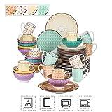 Vancasso Tafelservice Porzellan, Tulip Elegantes Geschirrset, 48 teilig Kombiservice Serie Mandala, mit Speiseteller, Dessertteller, Müslischalen und Kaffeebecher für 12 Personen - 2
