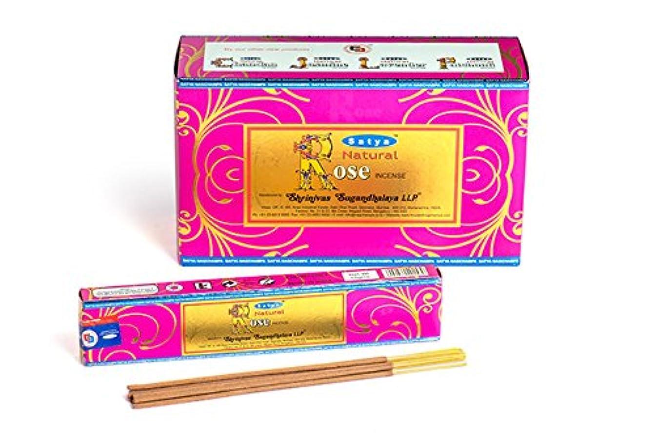 ベーカリー小屋構造的Satya Nag Champa 天然ローズお香スティック Agarbatti 180グラムボックス | 15グラム入り12パック 箱入り | 輸出品質