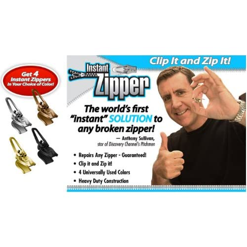 Instant Zipper- Set of 4 Replacement Zippers in Black