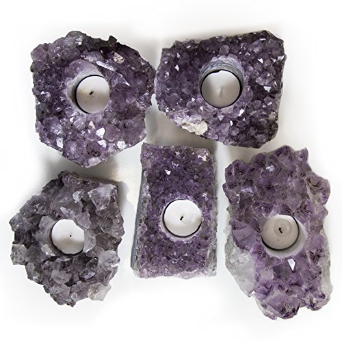 ONE Large Amethyst Candle Holder Approx. 2 - 5 lbs piece RP Exclusive COA - AM23