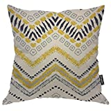 Moslion Bohemian Throw Pillow Case Wavy Tribal Ethnic Aztec Stripes Doodle Polka Dot Chevron Zig Zag Pillow Cover Decorative Square Accent Cotton Linen 20x20 Inch for Sofa Chair Beige