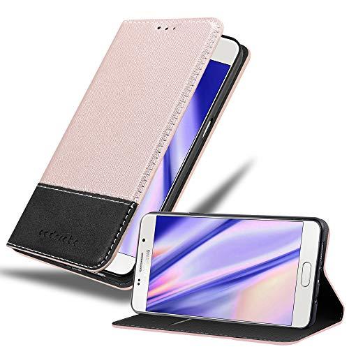 Cadorabo Hülle für Samsung Galaxy A5 2016 (6) - Hülle in Rose Gold SCHWARZ – Handyhülle mit Standfunktion und Kartenfach aus Einer Kunstlederkombi - Case Cover Schutzhülle Etui Tasche Book