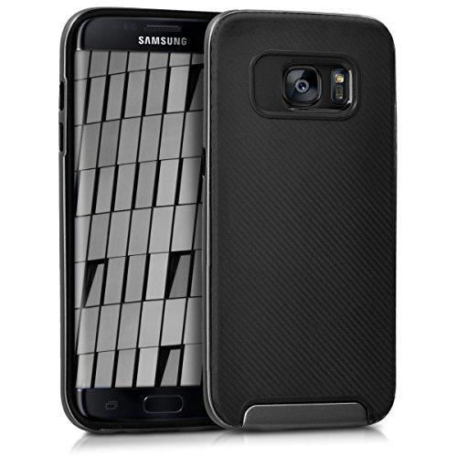kwmobile Funda Compatible con Samsung Galaxy S7 Edge - Carcasa de TPU Elegante en Antracita/Negro