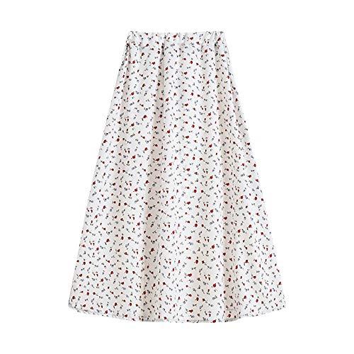 Womens Elastic High Waist A-Line Skirts Summer Casual Midi Skirt Vintage Floral Print Knee Length Bohemian Skirt White