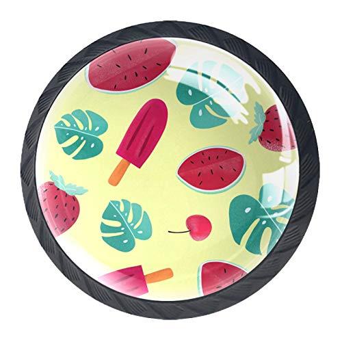 Perillas de cristal para cocina, baño, aparador y armario con hojas de sandía, fresa, cereza, color amarillo