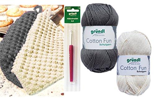 HdK-Versand SB Pack Gründl Cotton Fun Häkelset für Topflappen Inhalt 4x50g Material 100% Baumwolle incl. Gratis Häkelanleitung und Häkelnadel (Grau-Creme)