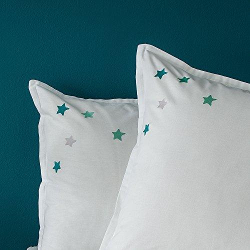 BLANC CERISE Taie d'oreiller - 100% Coton - étoiles Menthe à l'eau brodées, Volants Plats 65x65 cm