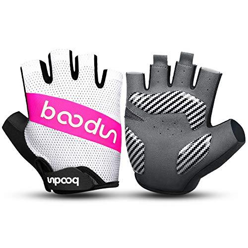KONVINIT Fahrradhandschuhe Halbfinger Herren Damen MTB Handschuhe Sommer rutschfeste und Stoßdämpfende Radsporthandschuhe für Rennrad Mountainbike Radsport Fahren Rosa L