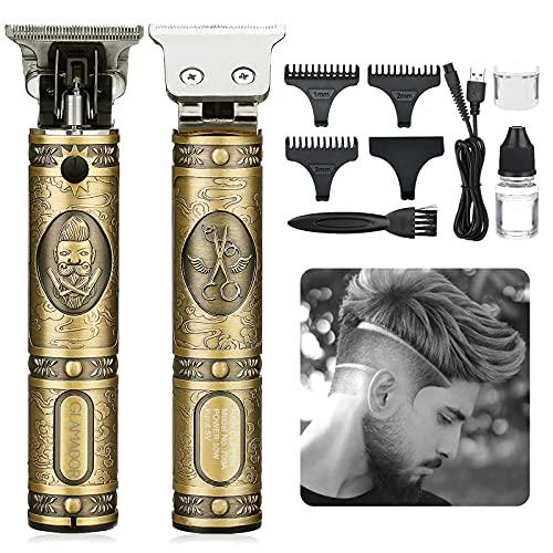 Elektrischer Haarschneider für Männer, GLAMADOR Blonder Barttrimmer & Haarschneider, Barthaarschneider-Rasierer, Präzisionstrimmer, Tragbarer USB-Lade-Rasierapparat, mit 2 Kämme, Vatertagsgeschenk