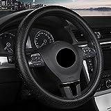 EDEALYN Diameter 15 inch Genuine Leather Auto Car Steering Wheel Cover Protector Four Seasons General Steering Wheel Cover Protector (Black)
